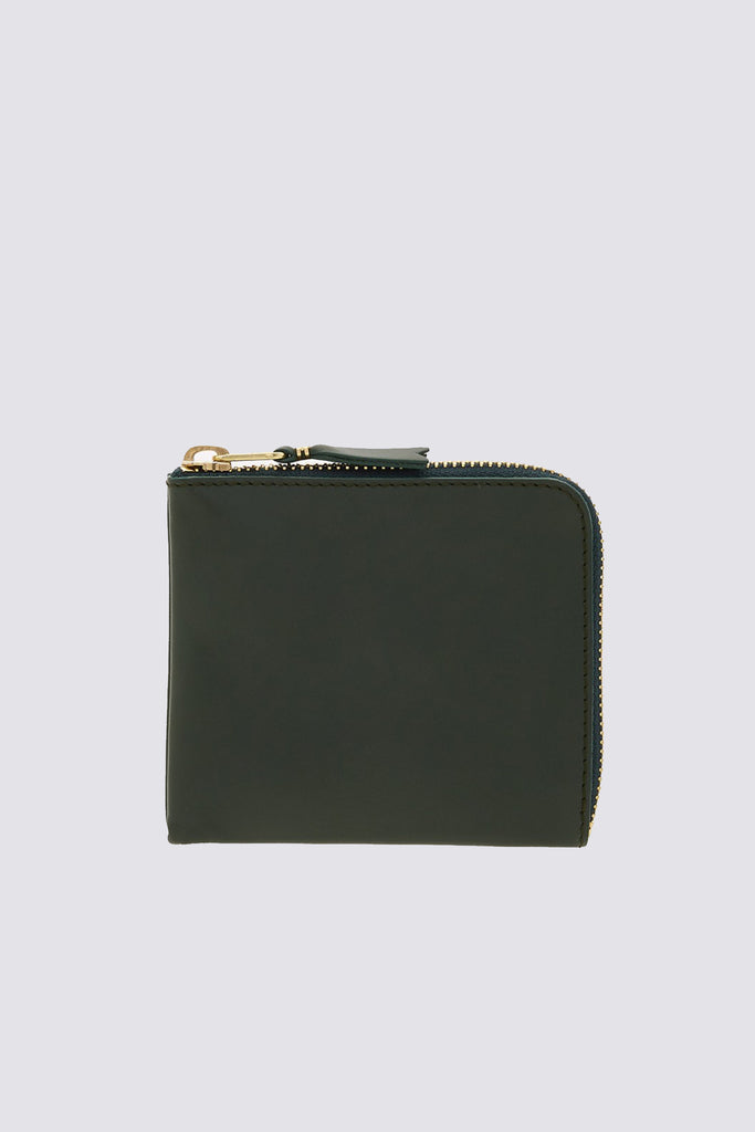 Leather Half Zip Wallet - Bottle Green - SA3100
