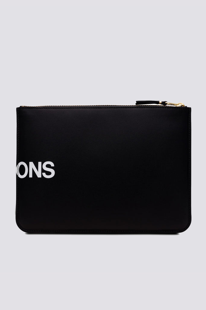 Leather Huge Logo Zip Wallet - Black - SA5100HL