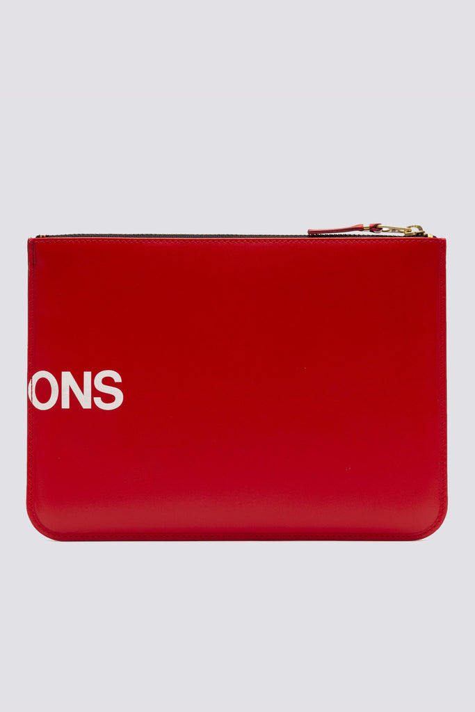 Leather Huge Logo Zip Wallet - Red - SA5100HL