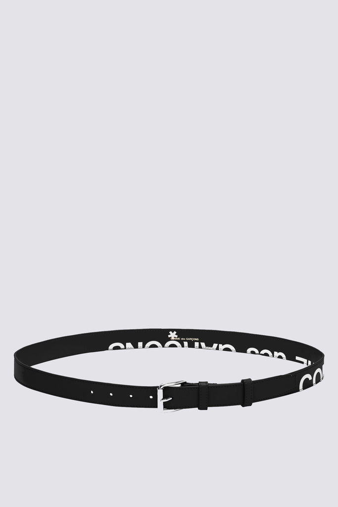Leather Huge Logo Belt - Black