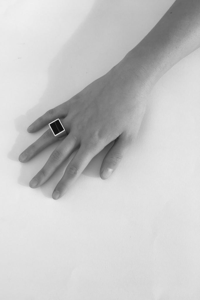 Brass Black Onyx Signet Ring - Square