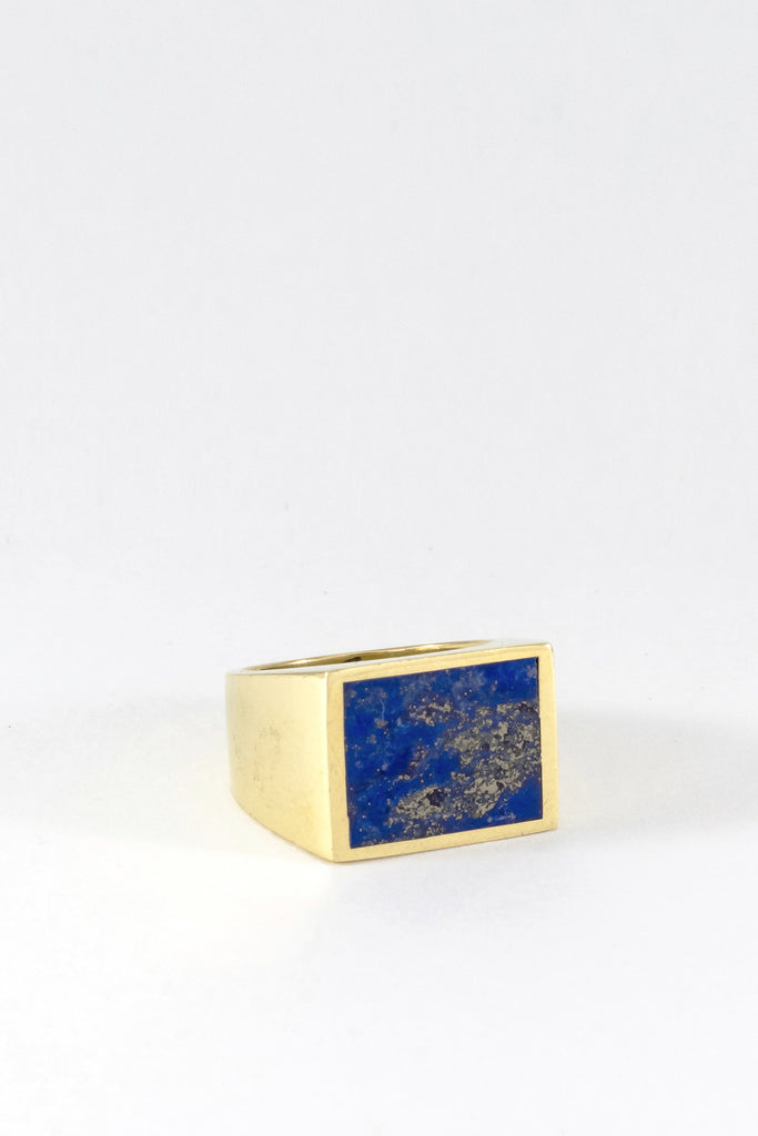 Gold Lapis Signet Ring - Square