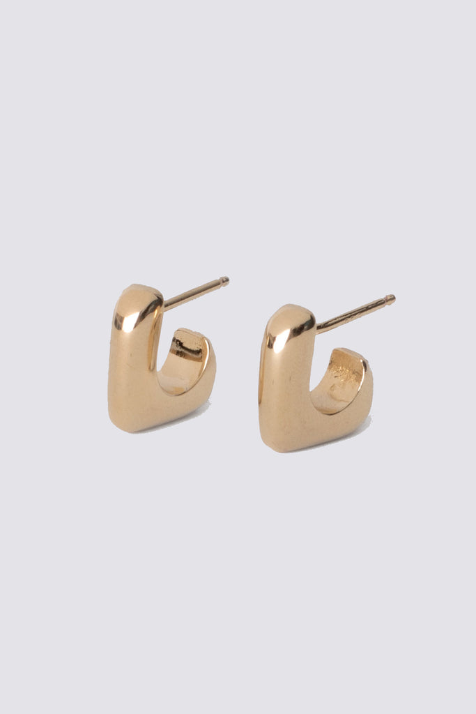 Gold Medium J Stack Earrings