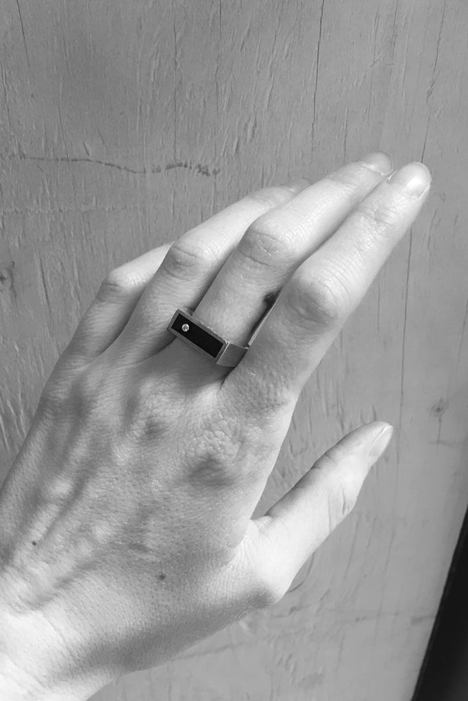 Brass Black Onyx with Diamond Signet Ring - Classic