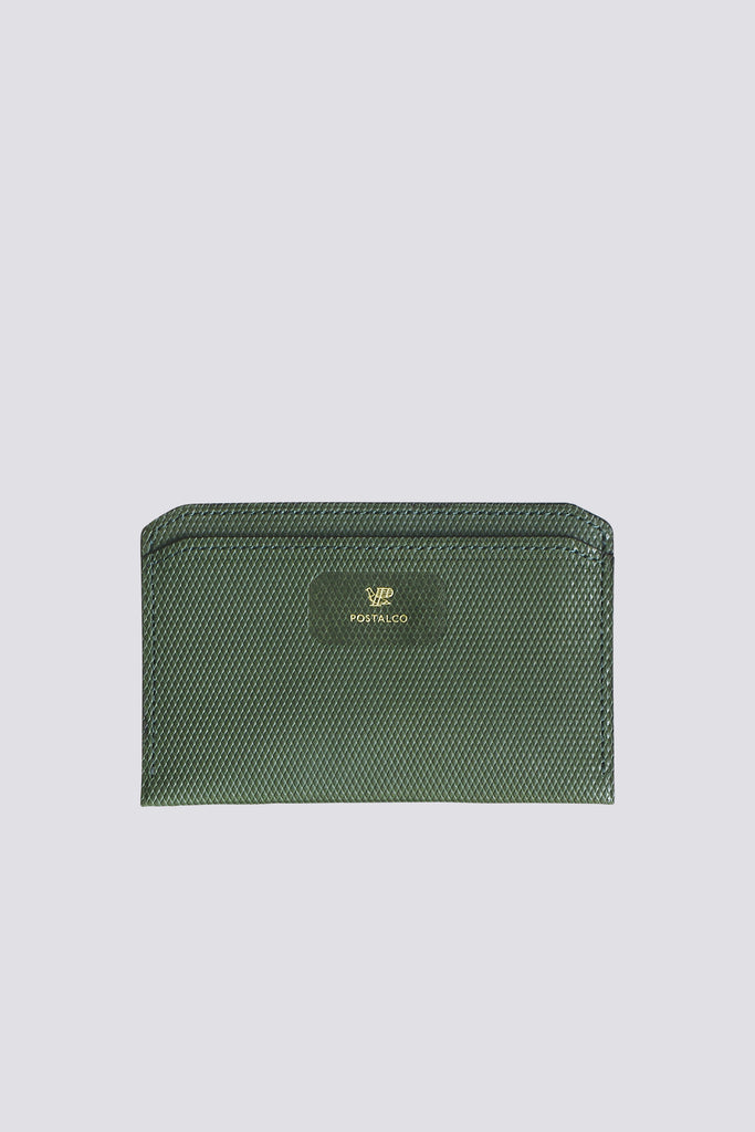Emerald Crossgrain Leather Flat Wallet