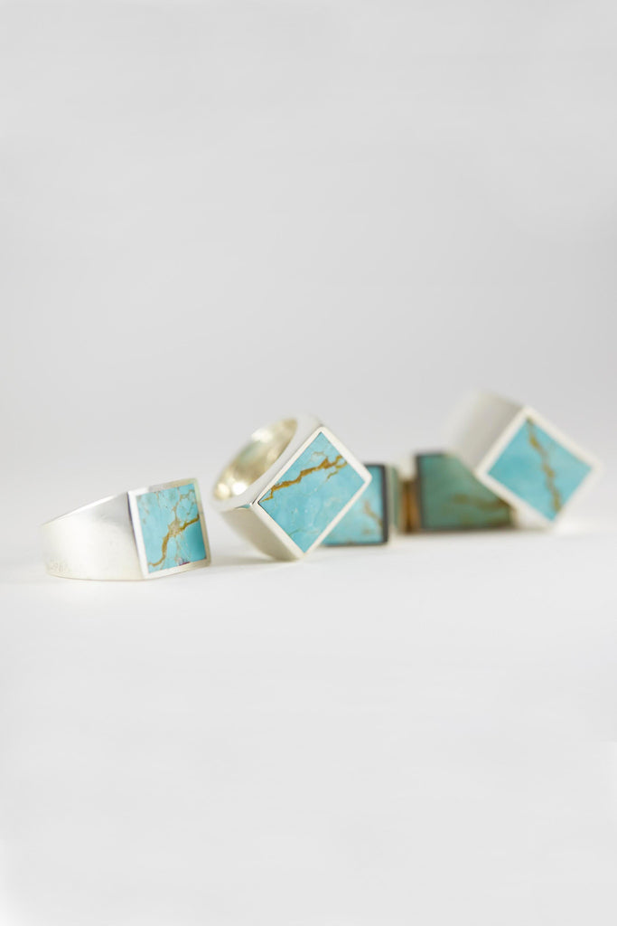 Silver Turquoise Signet Ring - Square