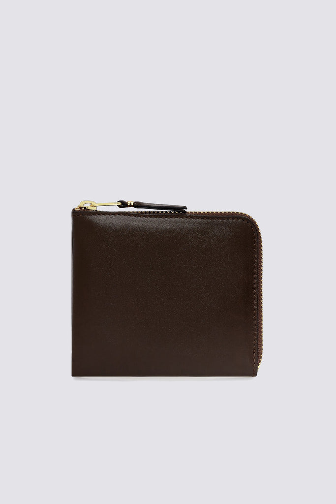 Leather Half Zip Wallet - Brown - SA3100