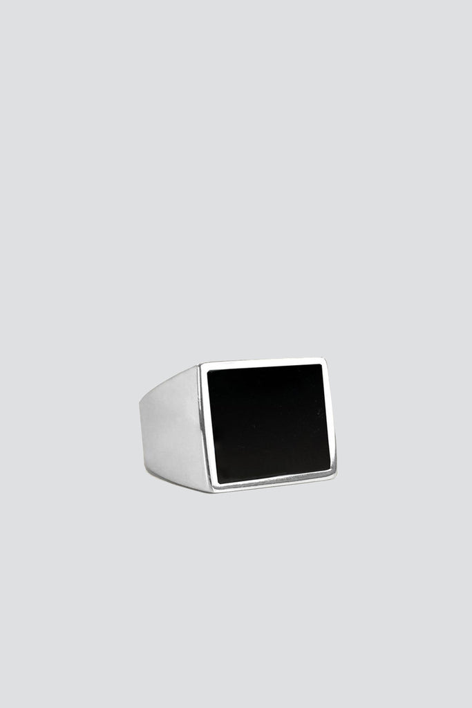 Sterling Silver and Onyx Flat Hexagon Set Ring