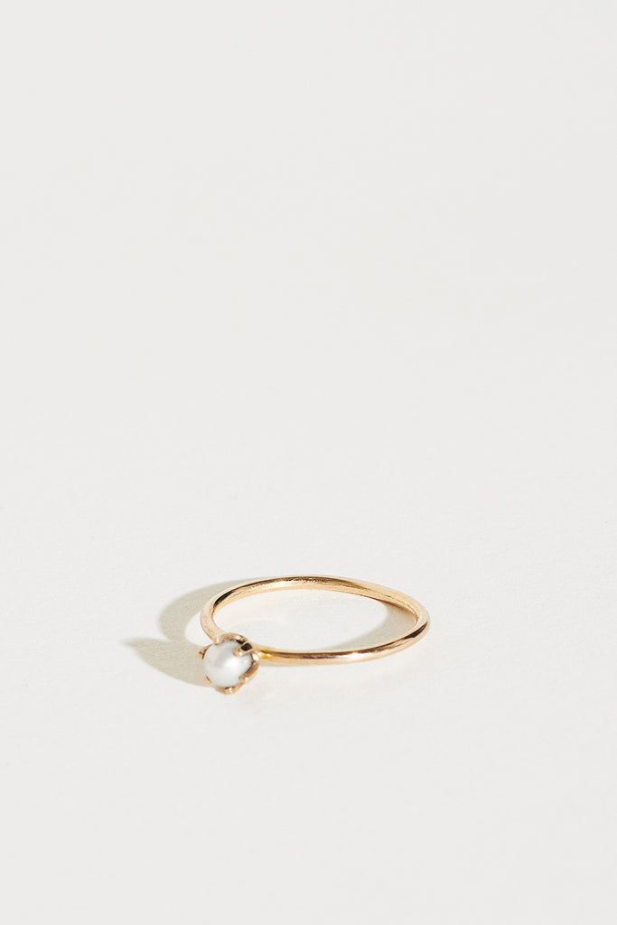 14K Gold Pearl Siren Pinky Ring