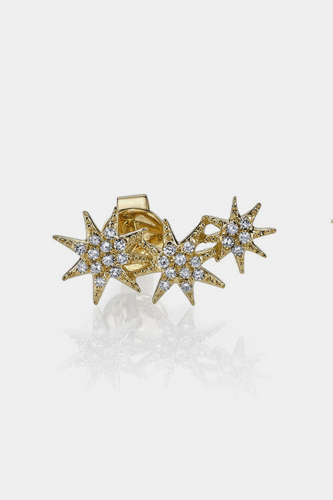14K Triple Shooting Star Earrings