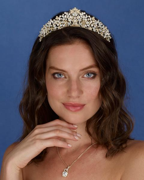 Anastasia Opal and pearl tiara in gold