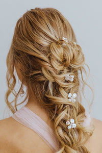 Ava pearl flower hair pin by Carrie Whelan Designs