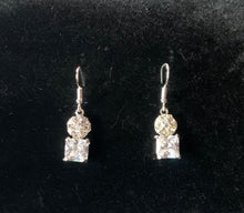 Load image into Gallery viewer, Zara silver rhinestone drop earrings