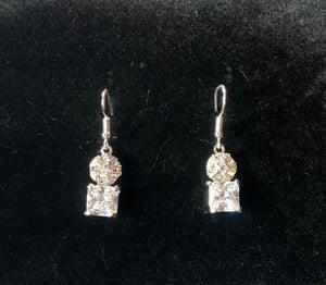 Zara silver rhinestone drop earrings