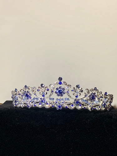Isadora silver and blue rhinestone tiara