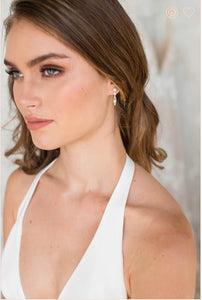 Thais pearl and crystal earrings in gold by Brides & Hairpins