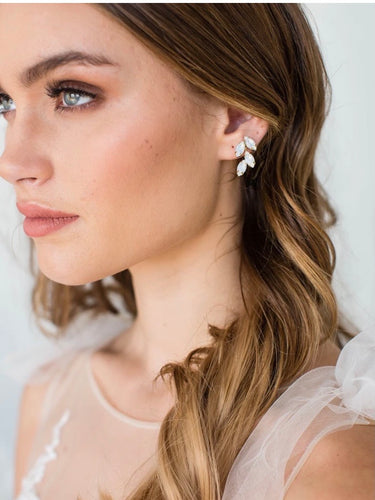 Ashton opal earrings in silver by Brides & Hairpins