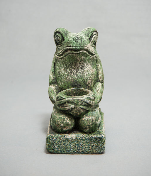 Stone Frog Candle Holder