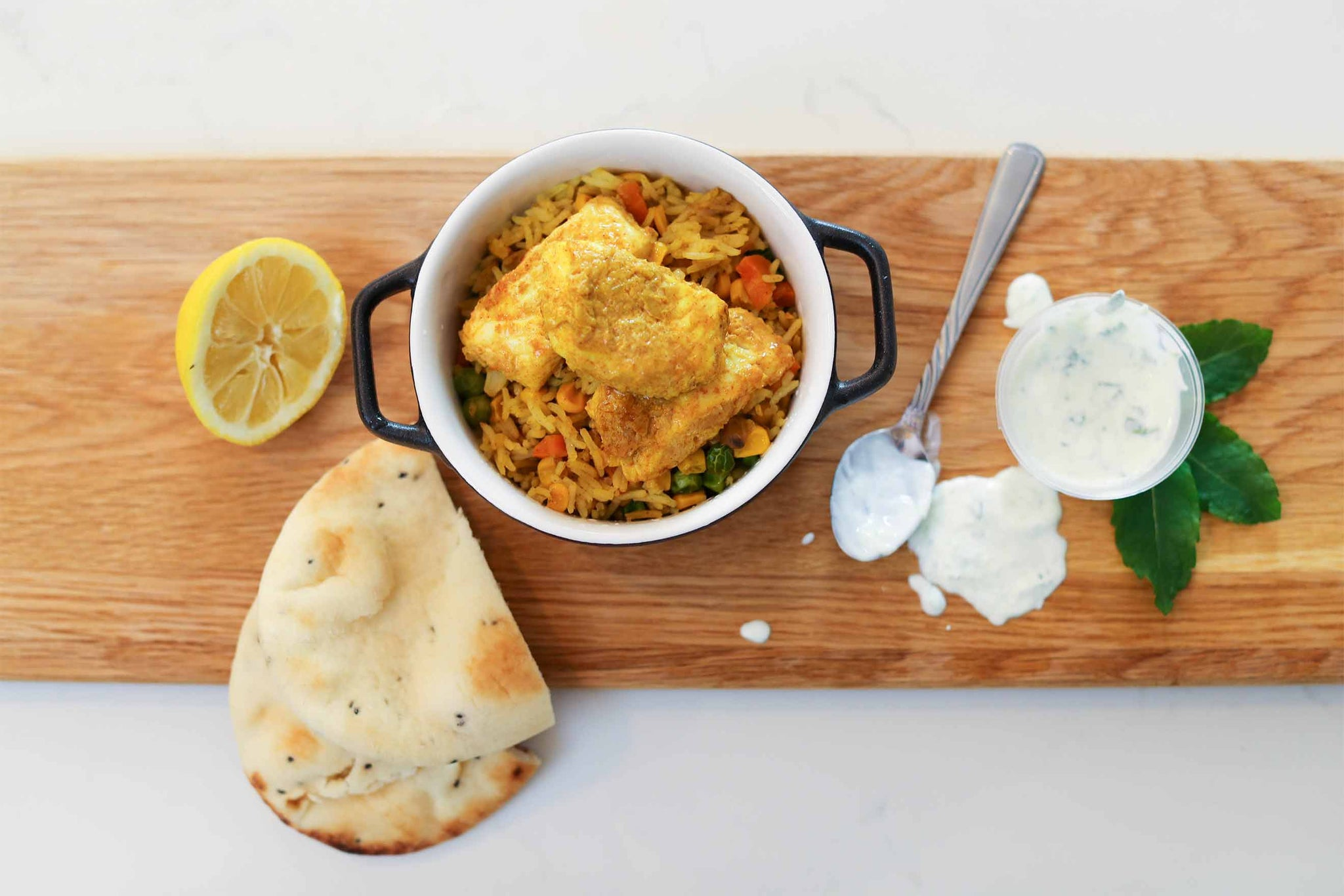 Tandoori Fish with Vegetable Pilau and Yoghurt Raita