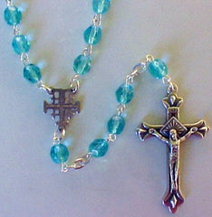 Crystal Aqua Holy Land Rosary