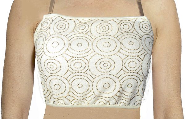 Off White with Circular Gold Rhinestones Mini Camisole