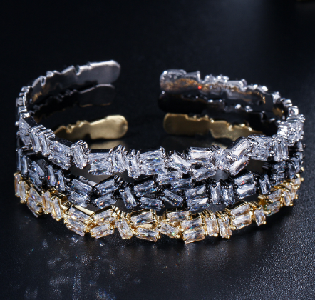 Square Crystal Cuff -Black Gun