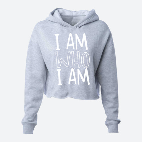 AM WHO I AM LIGHTWEIGHT CROPPED HOODIE - I.AM.LUV by V