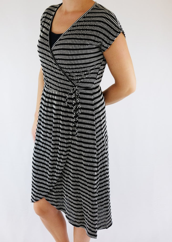 Black and White Print Wrap Dress