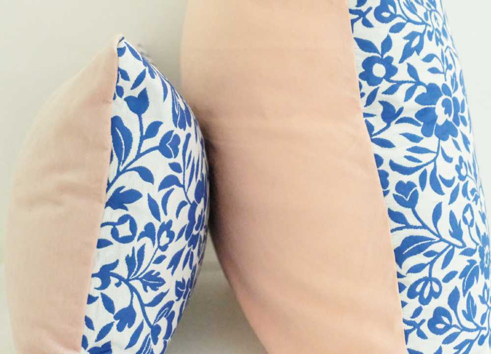 China Blue and Pink Floral Pillow Covers