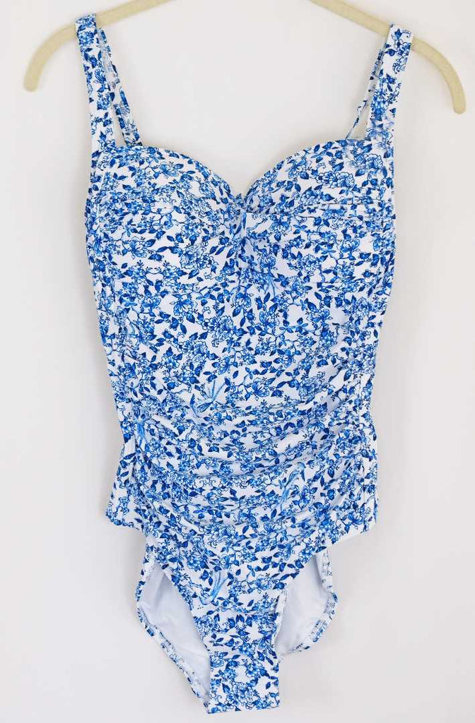White and Blue Floral Swim