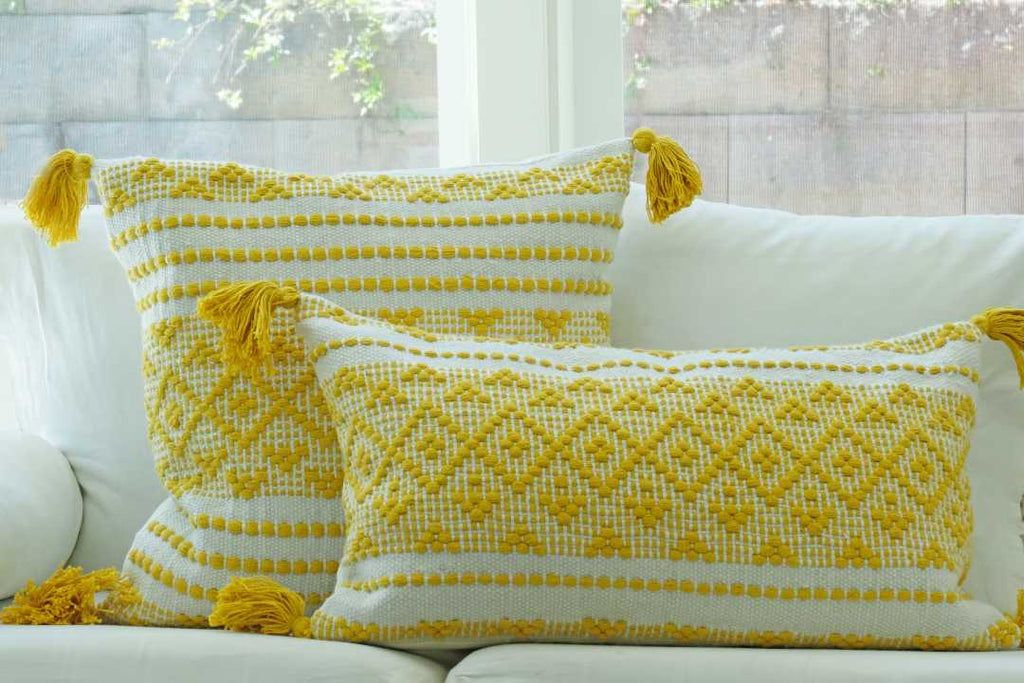 Yellow Woven Pillow Set