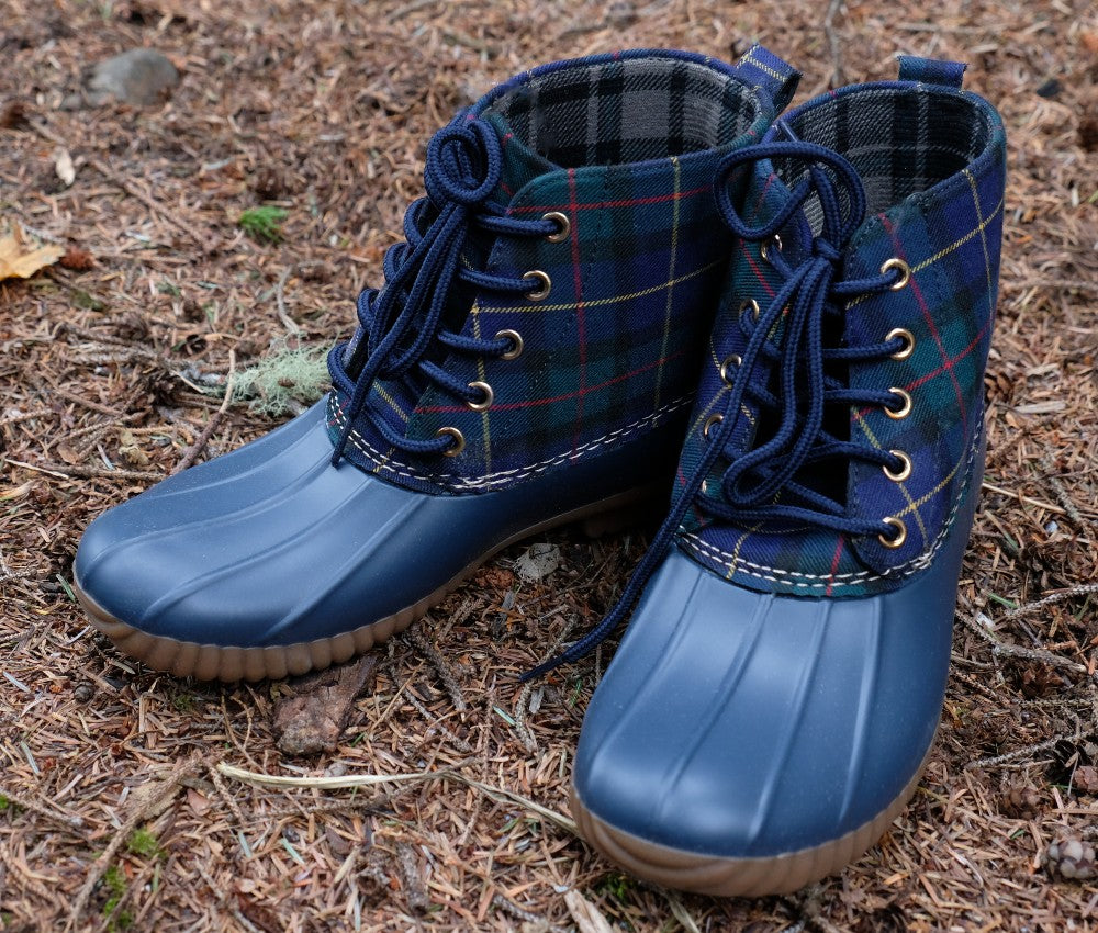 Navy Plaid Boots