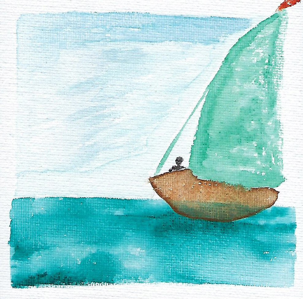 Sailboat watercolor art