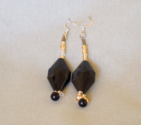 Black and Gold Earrings by Jaz - Sonarta.com