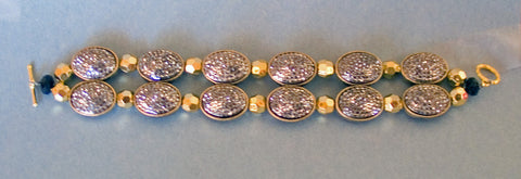Black and Gold Shimmering  Beaded Bracelet by Jaz - Sonarta.com