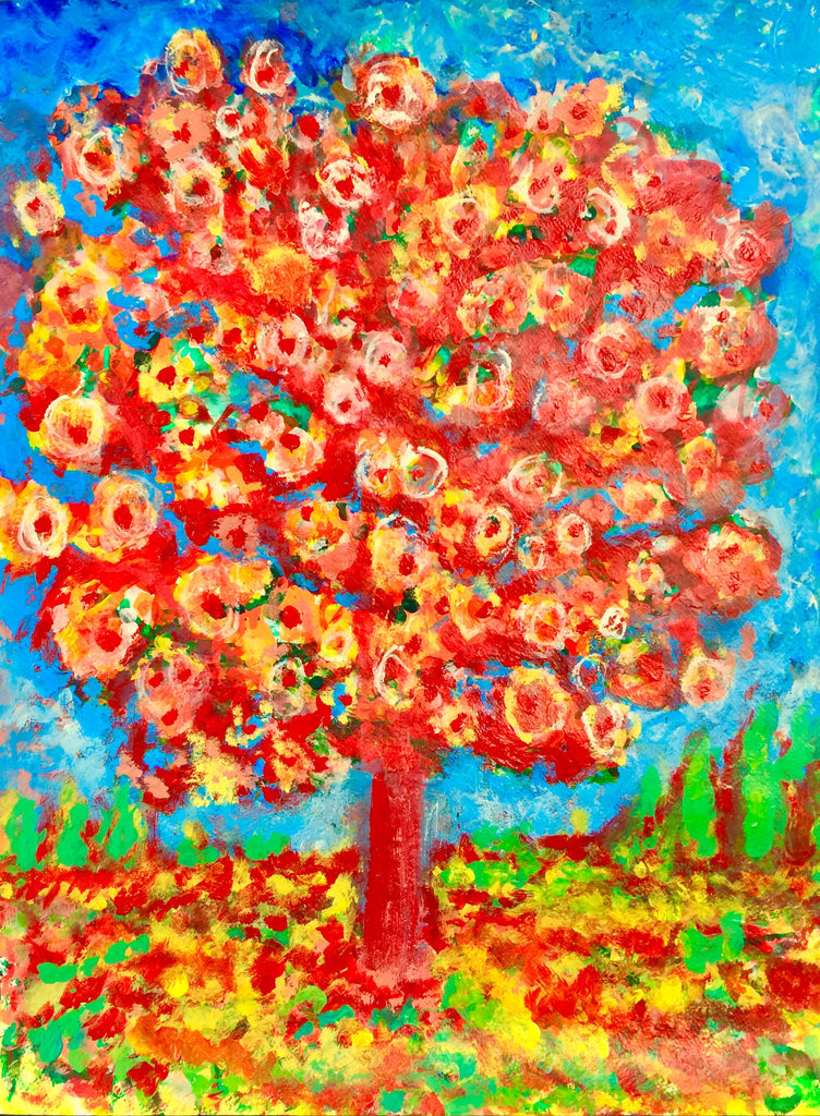 "Since the beginning of COVID-19 Quarantine, I have started a series of ""Live"" paintings titled ""Rising Phoenix"" . You know it is spring, when you see those gorgeous Cheery Blossoms on Trees.  This is an Acrylic on  Paper painting by artist Shahla Rahimi Reynolds.  It is  24"" H x 21"" W."