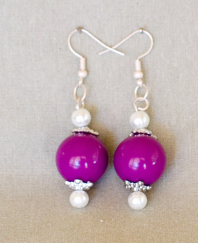 Purple Bead Earrings by Jaz - Sonarta.com
