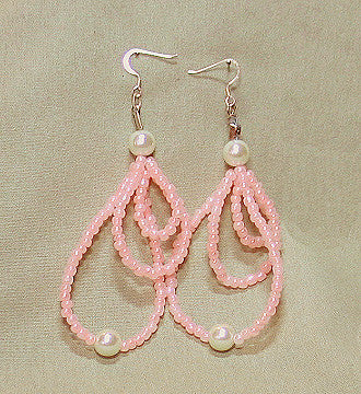 Long Pink Beaded Earrings - Sonarta.com