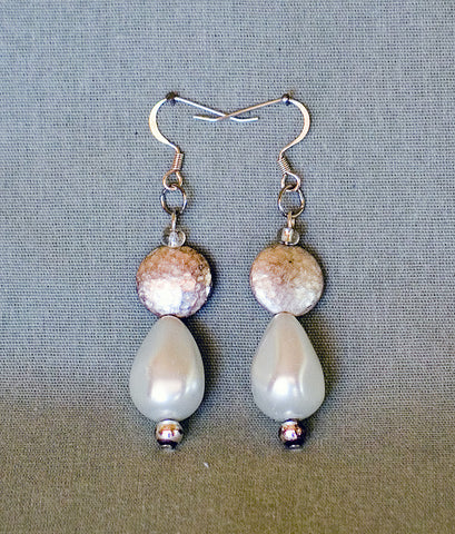 Pearl Colored Earrings by Jaz - Sonarta.com