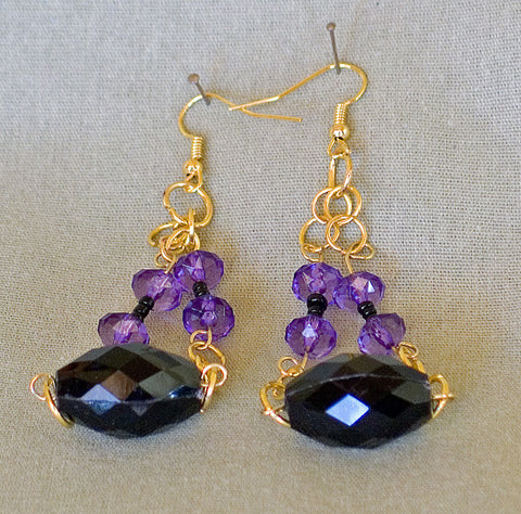 Purple and Black Earrings - Sonarta.com