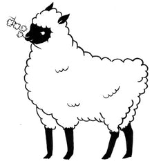 line drawing of a standing sheep, holding a sprig of cotton plant in its mouth