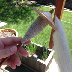 drop spindle with wool singles spun onto it, being held in front of a planter and a lawn