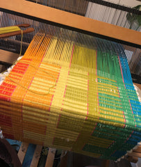 further weaving progress of the rainbow rep-weave block pattern