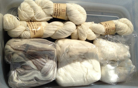 a view from above of three twisted skeins and three bundles of fiber, all undyed, in a plastic tub