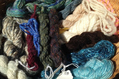 the selection of yarns for this piece, piled into a basket together