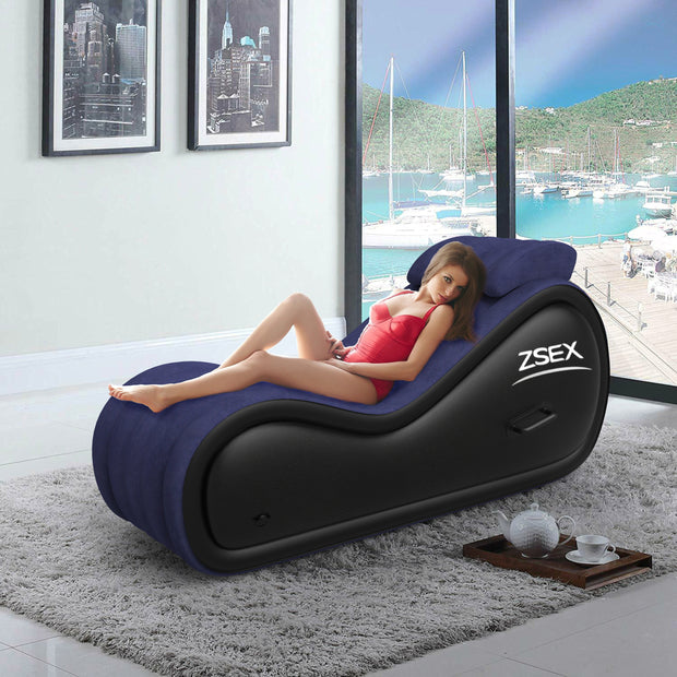 Inflatable Sofa Lounge Chair for Couples Love Position - Multifunctional Chaise Relaxation Furniture Inflatable Yoga Chair Pillow with Electric Pump inflator and Universal Conversion Plug