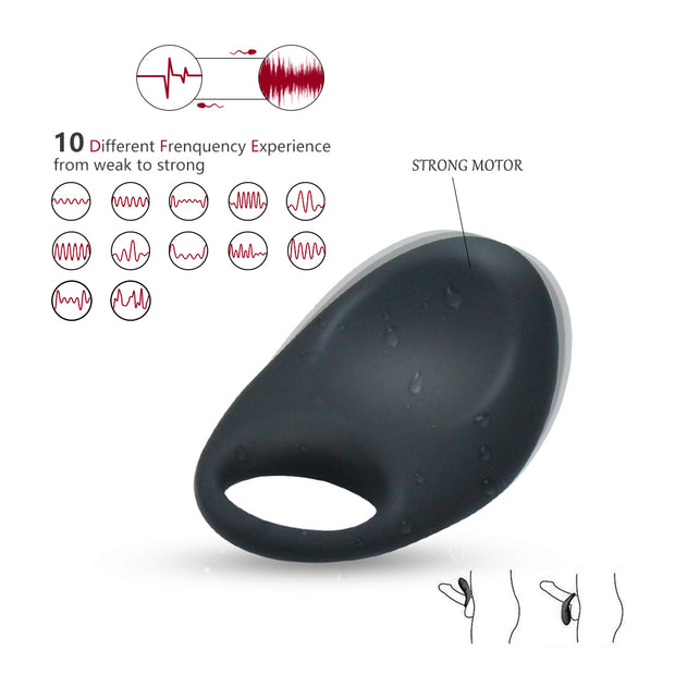 Silicone USB Charging Lock Fine Ring Men 10 Frequency Vibration Penis Ring Vibrator
