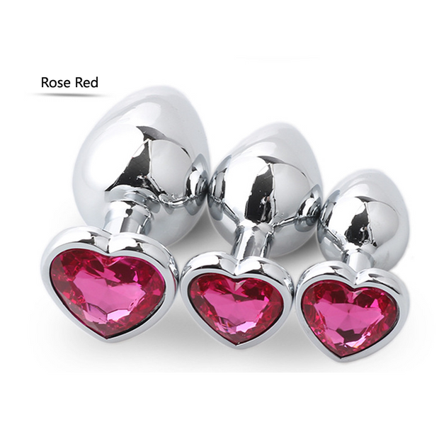 Heart Shape Jewel 3 Sizes Metal Stainless Steel Butt Anal Plug Sex Toys