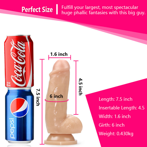7.1''Realistic Dildo With Lifelike Veins |Super Suction Cup Real Skin Feeling Silicone Dildo