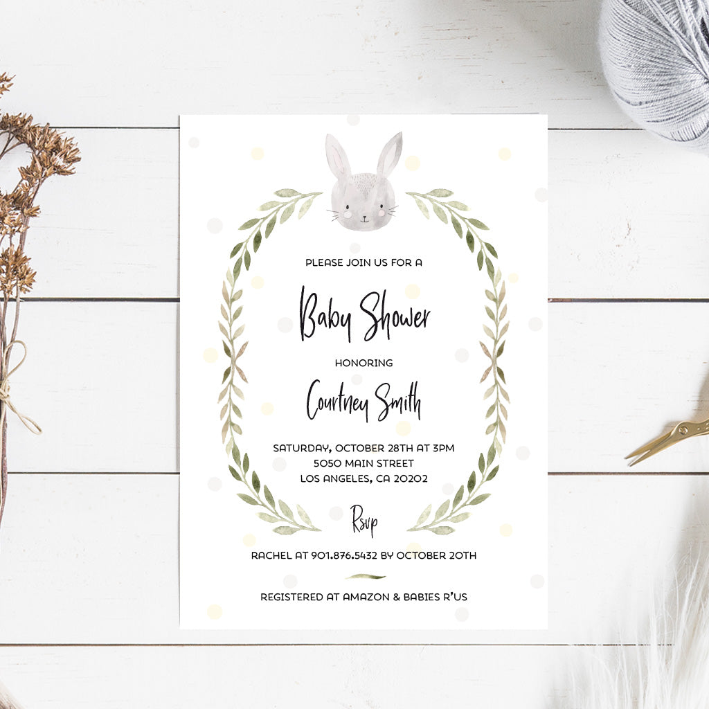 photograph about Baby Shower Printable Invitations titled Bunny Little one Shower Printable Invitation